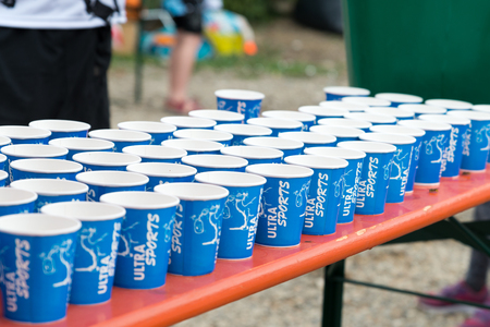 Regensburg, Bavaria, Germany, August 06, 2017, 28th Regensburg Triathlon 2017, Plastic cups with water on a drink station