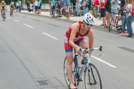 Regensburg, Bavaria, Germany, August 06, 2017, 28th Regensburg Triathlon 2017, Bike racer on the racetrack Editorial