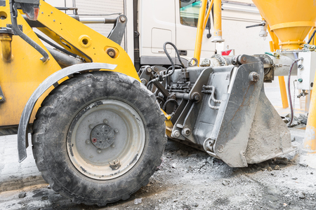 Wheel loader on a construction site