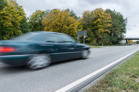 Car passing by on a national highway, Germany Banco de Imagens