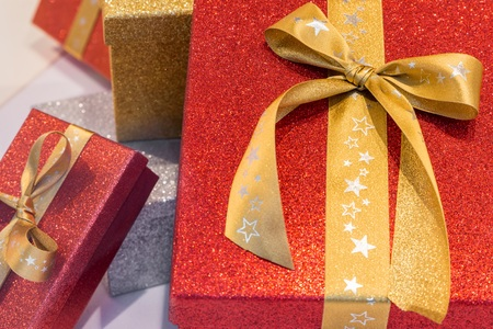 Wonderful boxed Christmas presents with a ribbon Stock Photo