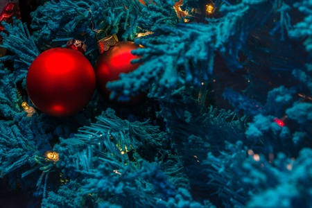 Blue Christmas tree with red decoration