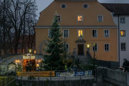 Regensburg, Bavaria, Germany, November 27, 2017: Christmas market at Spital garden in Regensburg, Germany