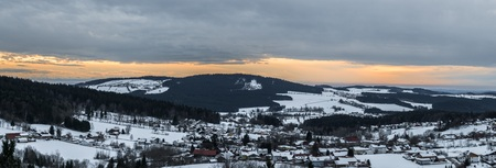 Snow covered landscape of Bavarian forest with view to the Alps, Bavaria, Germany Reklamní fotografie