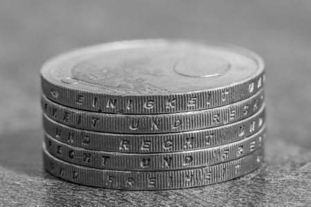 Stacked euro coins with the german words - unity and law and freedom Stock Photo