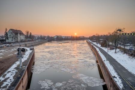 Sunrise above Reinhausen in the Winter - Regensburg, Germany,