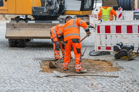 Road works on paving stones in a pedestrian zone, Germany