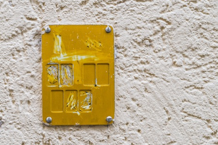 Yellow plastic sign for road fixtures of gas supply systems Stock Photo