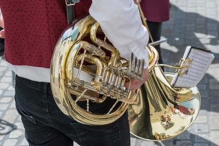 Baritone horn of a traditional band, Germany