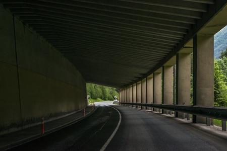 Car tunnel in the Alps, Austria 版權商用圖片