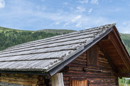 Wood shingle on a roof at an alpine cabin, Austria