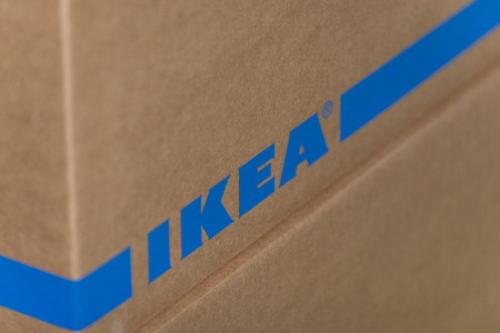 Regensburg, Germany, November 14, 2018, Close-up of a moving carton from Ikea Editorial