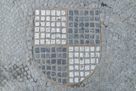 Paving stones in the shape of the black and white coat of arms of the Hohenzollern, Germany Imagens - 120562656