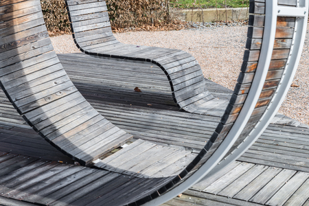 Modern geometric wooden construction designed as seating, Germany