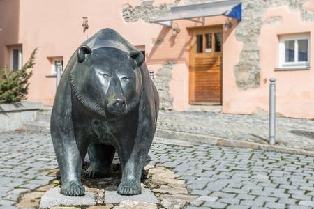 Life size metal sculpture of the heraldic animal of Grafenau, the bears - Germany Editorial