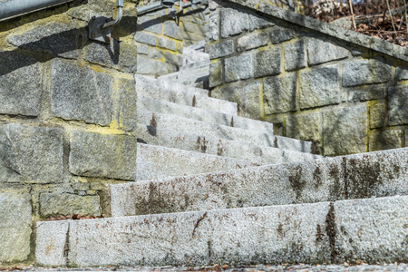 Stone stairs in a park from top to bottom, Germany