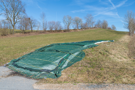 Covered silo with silage in spring, Germany