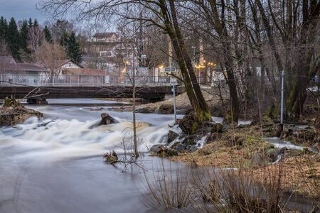 Grafenau, Bavaria, Germany, March 16, 2019, The river Gro?e Ohe in Grafenau at high water in spring, Germany