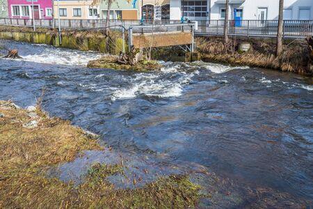 Grafenau, Bavaria, Germany, March 17, 2019, The river Grosse Ohe in Grafenau at high water in spring, Germany Redakční