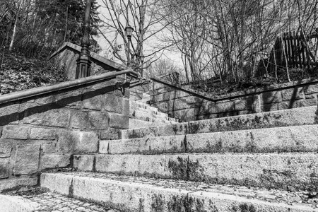 Black white image of stone stairs in a park from top to bottom, Germany