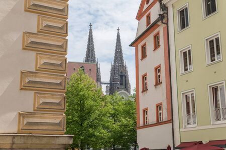 View to Regensburg Cathedral from Regensburg Old Town, Germany