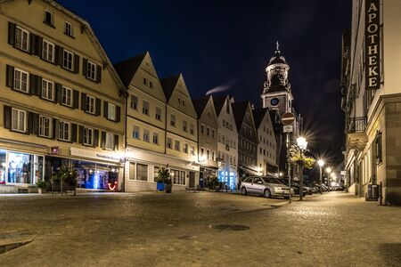 Hechingen, Baden-Württemberg, Germany, September 14, 2019, Night shot of the market place of Hechingen in Baden-Württemberg, Germany