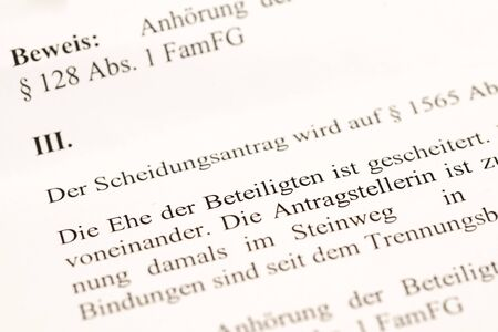 Divorce petition in German language with the sentence