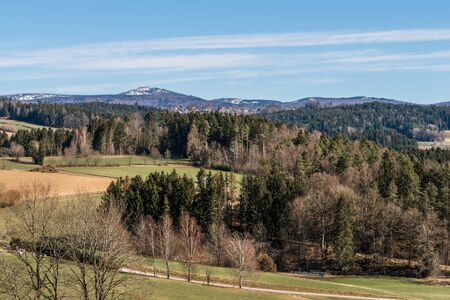 View of the mountain Lusen at Grafenau in the Bavarian Forest in summer, Germany Фото со стока