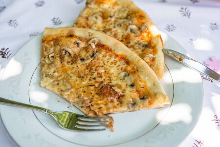 Pieces of pizza on a plate on a table with tablecloth and cutlery, Germany