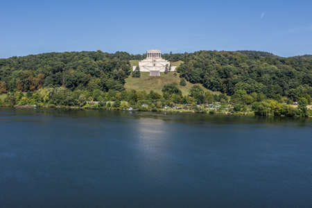 Image of an aerial view with a drone of the Walhalla in Regensburg, Germany