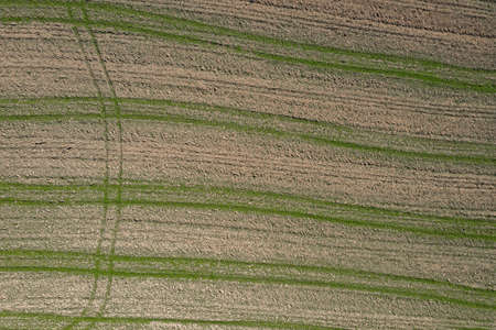 Picture of an aerial view with a drone of a field and field with tractor tracks in the Bavarian forest near Grafenau, Germany