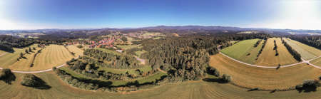 Picture of a panoramic aerial view of the landscape in the Bavarian Forest with the mountains Lusen and Rachel and Arber, Germany
