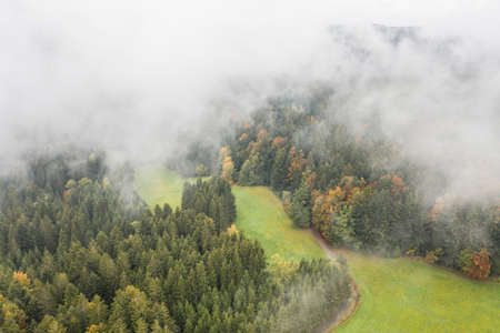 Image of an aerial view of low-hanging clouds above the trees of a forest in the Bavarian Forest, Germany 免版税图像