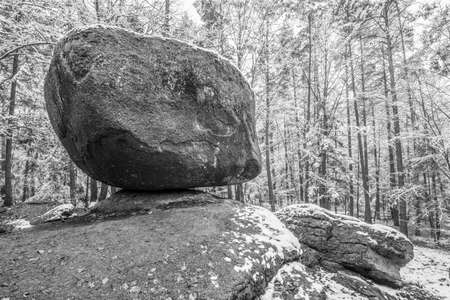 Wackelstein near Thurmansbang megalith granite rock formation in winter in bavarian forest, Germany