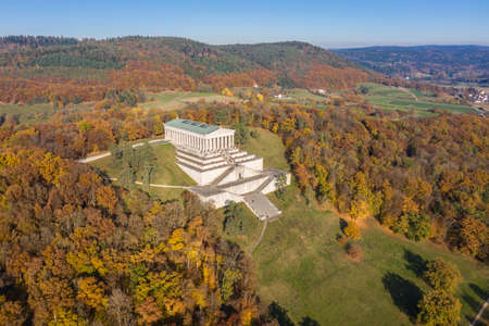 Picture of an aerial view with a drone of the Walhalla building in ancient Greek architecture as a memorial for important persons of German language in Regensburg, Germany