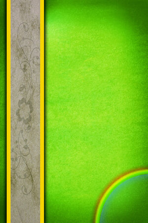 St. Patricks day greeting card with green background, rainbow, a white border and shamrock.