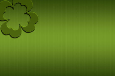 St. Patricks day greeting card with green grungy backdrop and clover Stock Photo