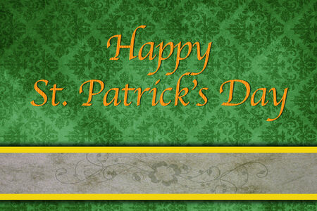St. Patricks day greeting card with green grungy backdrop, a border, clover and text. Happy St. Patricks Day. Stock Photo