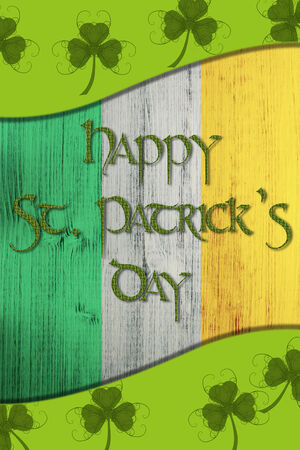 17 of march: Green St. Patricks Day greeting card with clover, border and Text