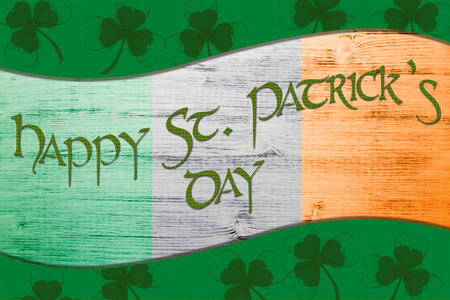 patric banner: Green St. Patricks Day greeting card with clover, border and Text
