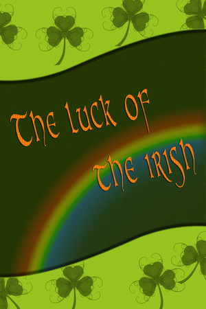 Green St. Patricks Day greeting card with clover, border and Text