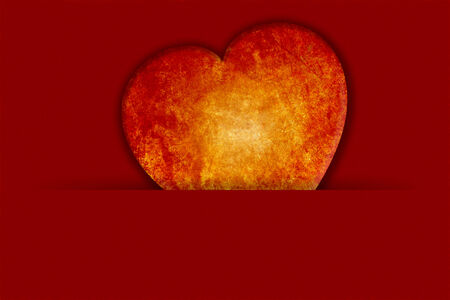 A romantic beautiful Valentines Day Background and greeting card. An coloured Illustration with red textured Background and a glowing heart with copy space.