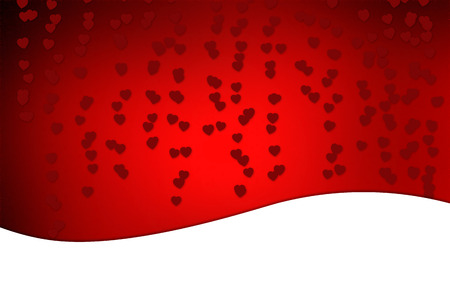 A red and romantic Valentines Day background and greeting card. A beautiful coloured Illustration with white copy space and hearts. Stock Photo