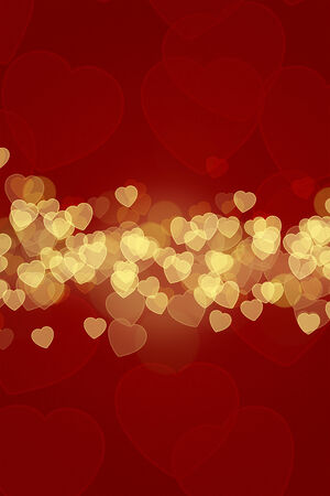 A beautiful romantic Valentines Day Background and greeting card. A coloured Illustration with bokeh and romantic hearts.