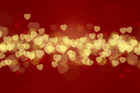 A beautiful romantic Valentines Day Background and greeting card. A coloured Illustration with bokeh and romantic hearts. illustration