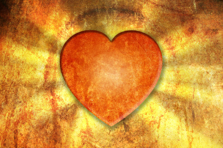 A shiny grungy Valentines Day Background and greeting card. A coloured Illustration with an glowing heart. Stock Photo
