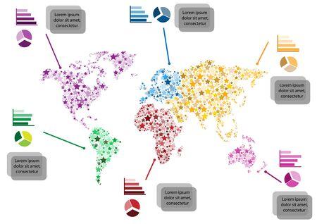 continental: Star world atlas info graphic Illustration