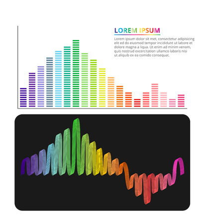 graphic equalizer: Colorful equalizer info graphic design