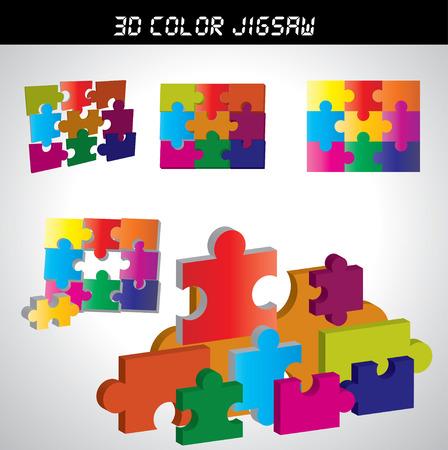 jig saw: 3d  Jigsaw puzzle  Illustration