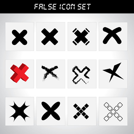 approbate: Rejected icon set